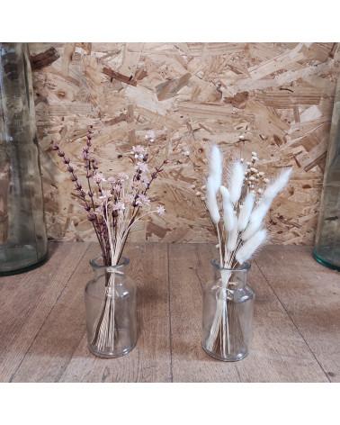 Bouquet et vase transparent