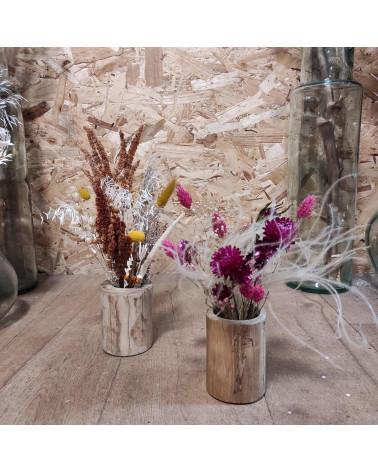 Vase bambou fleurs séchées
